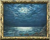 IVAN CHOULTSE RUSSIAN OIL PAINTING OF NIGHT AT SEA ON B