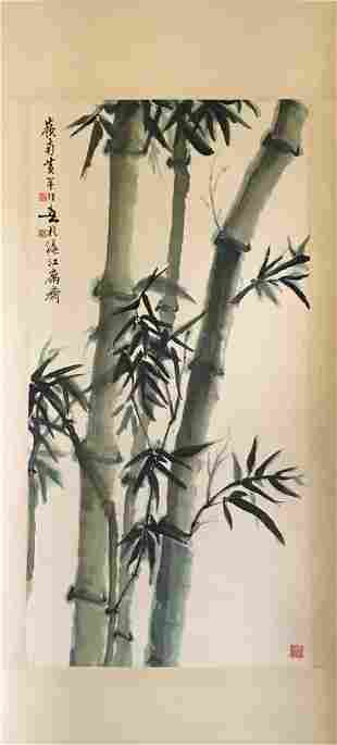 NO RESERVE CHINESE SCROLL PAINTING OF BAMBOO SIGNED BY