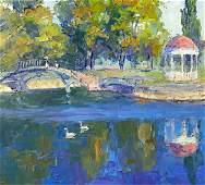 NO RESERVE Oil painting City Garden Serdyuk Boris
