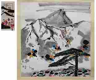 CHINESE SCROLL PAINTING OF ABSTRACT MOUNTAIN SIGNED BY