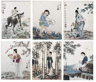 SIX PAGES OF CHINESE ALBUM PAINTING OF FIGURE AND STORY