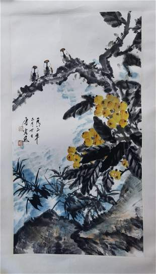 NO RESERVED CHINESE SCROLL PAINTING OF BIRD AND FLOWER