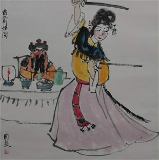 CHINESE SCROLL PAINTING OF PEKING OPERA FIGURES SIGNED