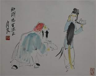 NO RESERVE CHINESE SCROLL PAINTING OF OPERA FIGURES