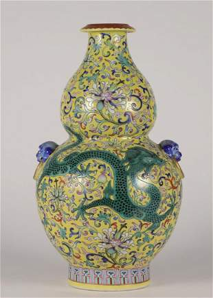 CHINESE PORCELAIN YELLOW GROUND FAMILE ROSE DRAGON