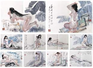 TEN PAGES OF CHINESE ALBUM PAINTING OF NUDE SIGNED BY