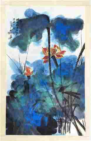 CHINESE SCROLL PAINTING OF LOTUS SIGNED BY ZHANG DAQIAN
