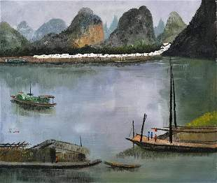 CHINESE OIL PAINTING ON CANVAS OF LANDSCAPE SIGNED BY
