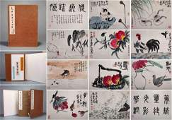 TWEELVE PAGES OF CHINESE ALBUM PAINTING OF ANIMAL AND