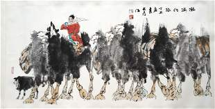 CHINESE SCROLL PAINTING OF GIRL AND CAMELS SIGNED BY