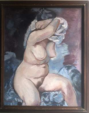 GEROGE GROSZ 1893-1959 OIL ON CANVAS NUDE