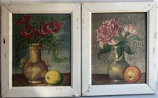 WILLIAM FRDRCE ROCH PAIR OF OIL PAINTING OF STILL LIFE