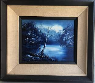 19TH CENTURY OIL PAINTING OF LAKE VIEWS ON CANVAS
