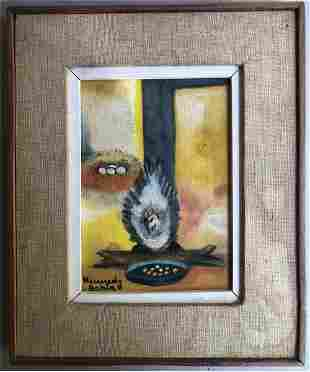 KENNEDY BAHIA 1929-2005 CHILEAN OIL PAINTING OF CHICKEN