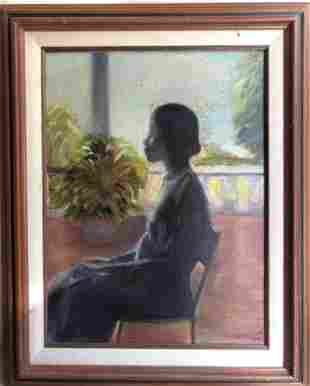 B SPEIGHT SEATED LADY OIL ON CANVAS
