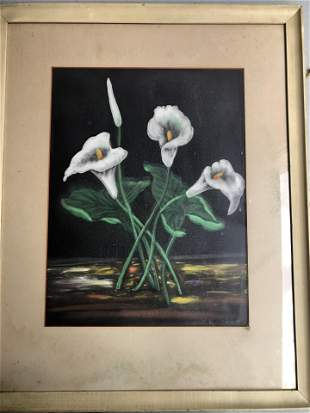 19TH CENTURY SIGNED FLOWER PASTEL ON PAPER