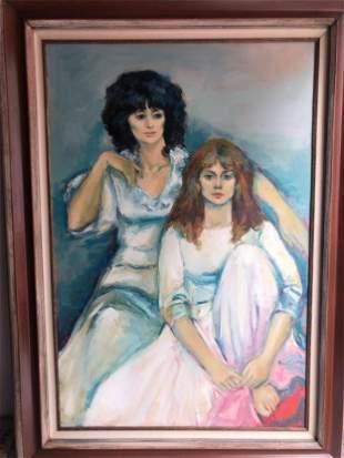 JAN DE RUTH CZECH/AMERICAN 1922-1991 TWO GIRLS OIL ON