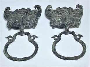 PAIR OF CHINESE ANCIENT BRONZE DOOR KNOCKERS