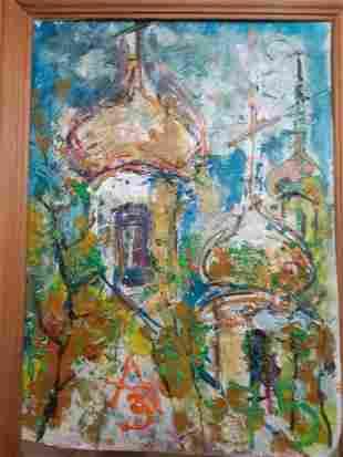 ANATOLY ZVEREV 1931-1986 RUSSIAN CHURCH CUPOLAS OIL ON