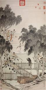 CHINESE SCROLL PAINTING OF MAN HUNTING SIGNED BY JIN