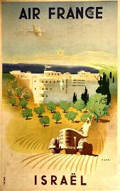 Air France Israel Poster - Jean Even, 1949