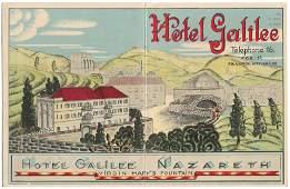 Advertisement of Hotel Galilee  Nazareth Palestine
