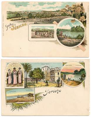 2 Lithographic Postcards - Jericho and its surroundings