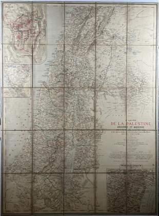 Large Map of Ancient & Modern Palestine - 19th Century