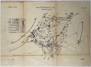 Arabic Ottoman Map of Gaza & Palestine - WWI