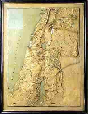 Palestine Relief Map - Topographic Model - 19th Century