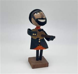 Hasidic Jew Playing the Guitar - Wooden Doll - Meisler