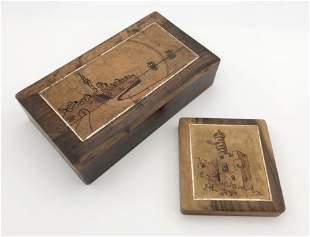 2 Olive Wood Boxes - Jerusalem & Acre - Palestine