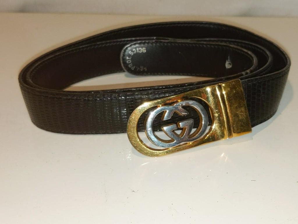 "Vintage Gucci Lizard-Skin Print Belt we 44"" Total"