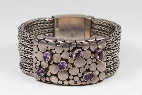 Vintage Sterling Silver Oversized Bracelet with