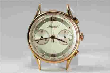 Vintage Minerva Chronograph Wristwatch in 18k Yellow
