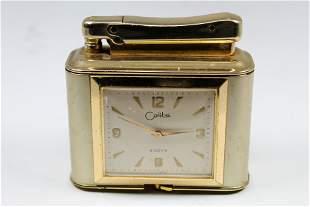 Antique Colibri Table Lighter & 8 Days Movement Clock