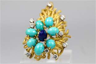 Vintage Turquoise Lapis and Diamond Ring in 18k Yellow