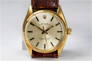 Vintage Rolex Oyster Perpetual Wristwatch in 18k Gold