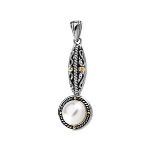 STERLING SILVER 14K GOLD PENDANT CULTURED PEARL 10MM