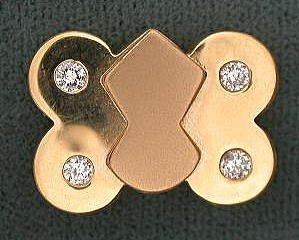 14K GOLD SLIDE FOR BRACELET WITH 4 DIAMOND SOLID BACK