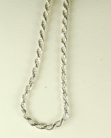 STERLING SILVER ROPE NECKLACE 20 INCH CHAIN 1.5MM THICK