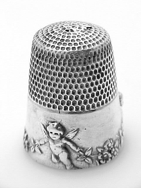 STERLING SILVER THIMBLE CHERUB SEWING ANTIQUE STYLE