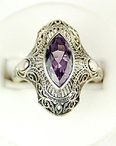 ANTIQUE STYLE STERLING SILVER RING AMETHYST FILIGREE
