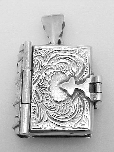 ANTIQUE STYLE STERLING SILVER LOCKET PENDANT OF A BOOK
