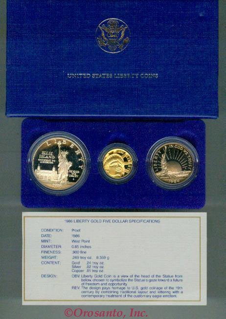 1986 US LIBERTY 3 COIN SET GOLD AND SILVER PROOF!