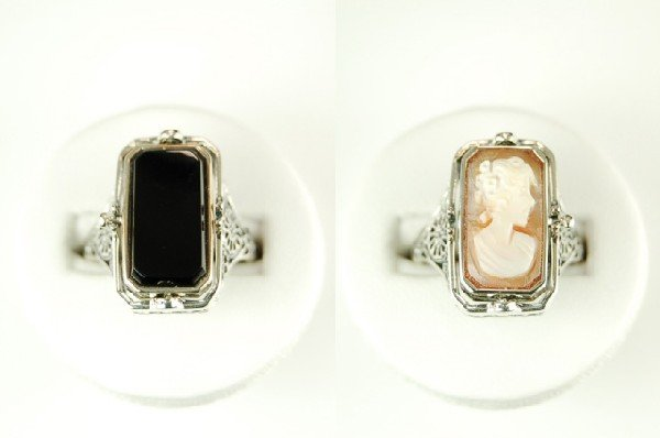 ANTIQUE STERLING SILVER FLIP RING BLACK ONYX CAMEO