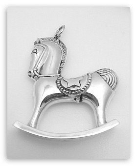 STERLING SILVER ROCKING HORSE ORNAMENT CHRISTMAS