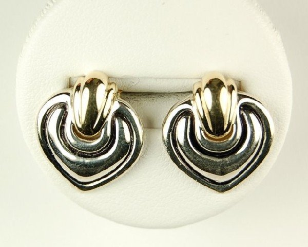 STERLING SILVER and 14K GOLD EARRINGS HEART