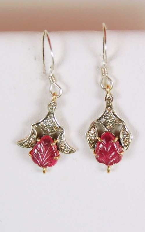 ANTIQUE STYLE EARRINGS GOLD SILVER RUBY DIAMOND