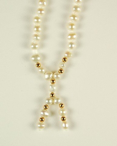 PEARL NECKLACE GOLD DANGLES